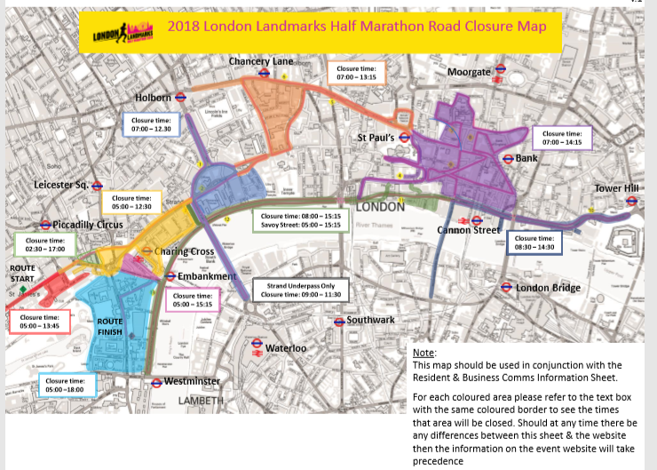 London Landmarks Map.London Landmarks Half Marathon Road Closures Business Continuity